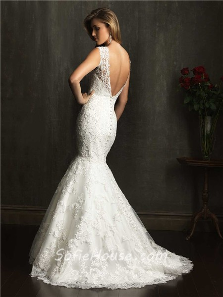 Mermaid Cap Sleeve V Neck Lace Wedding Dress With Low Back