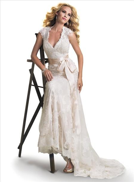 Mermaid cap sleeve v neck open back lace wedding dress for Belt for lace wedding dress