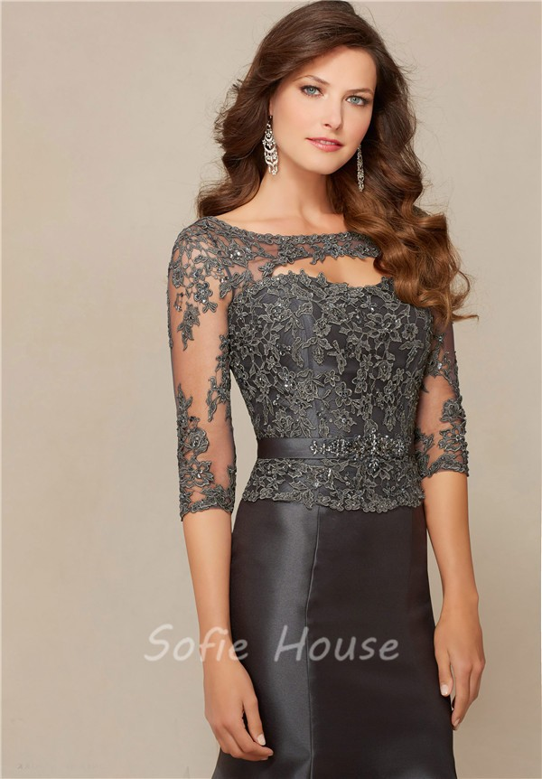 Mermaid Front Cut Out Charcoal Grey Satin Lace Beaded Evening Prom ...