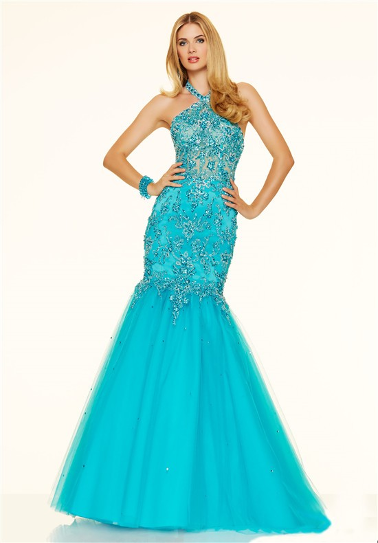 Halter backless see through turquoise tulle lace beaded prom dress