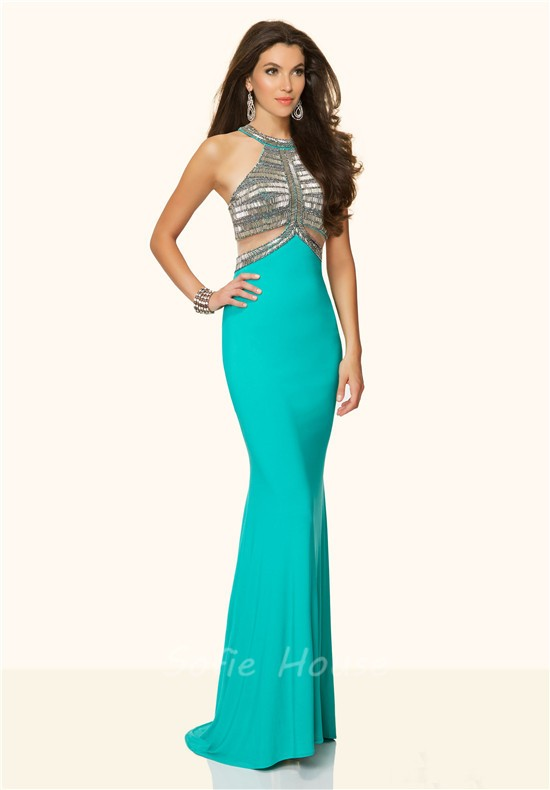 Mermaid Halter Side Cut Out Open Back Champagne Beaded