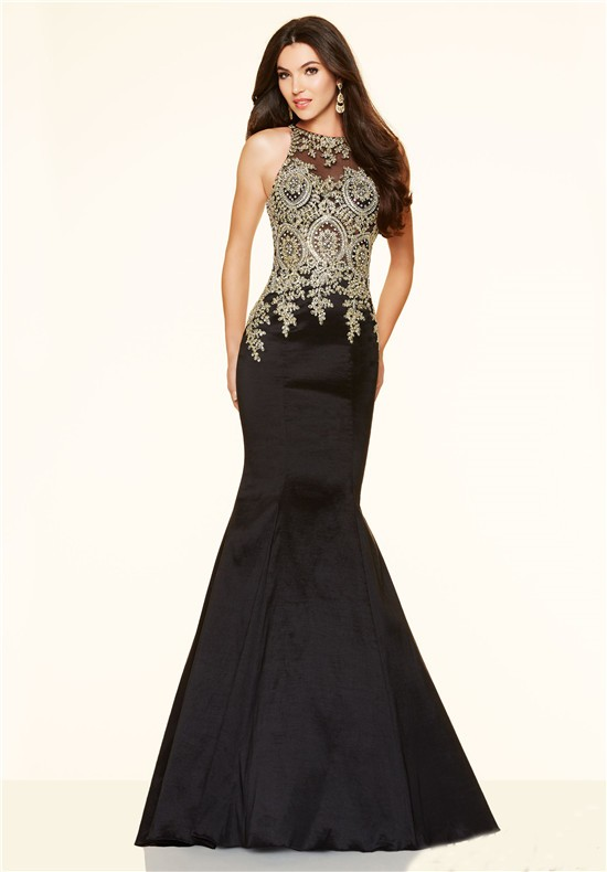 High Neck Black Taffeta Gold Lace Applique Prom Dress