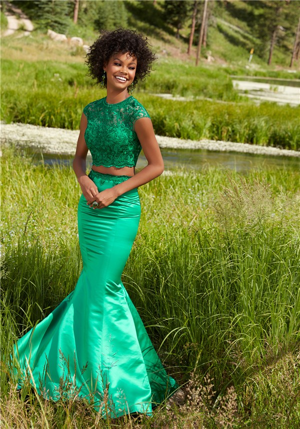 Mermaid High Neck Cap Sleeve Two Piece Navy Satin Embroidery Prom