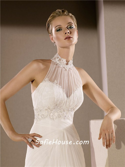 Mermaid high neck draped tulle lace beaded wedding dress for Around the neck wedding dresses
