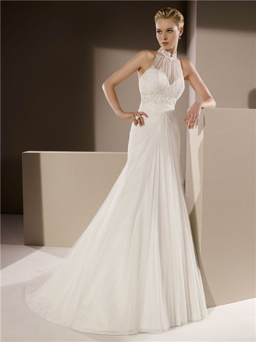 High Neck Draped Tulle Lace Beaded Wedding Dress With Collar