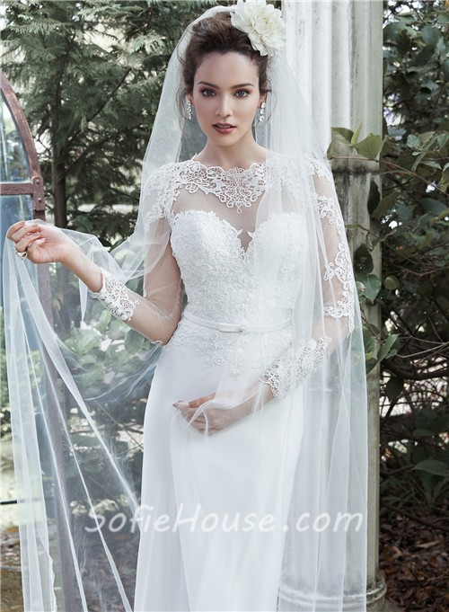 Mermaid High Neck Long Sleeve See Through Tulle Lace Wedding Dress With Belt Sale