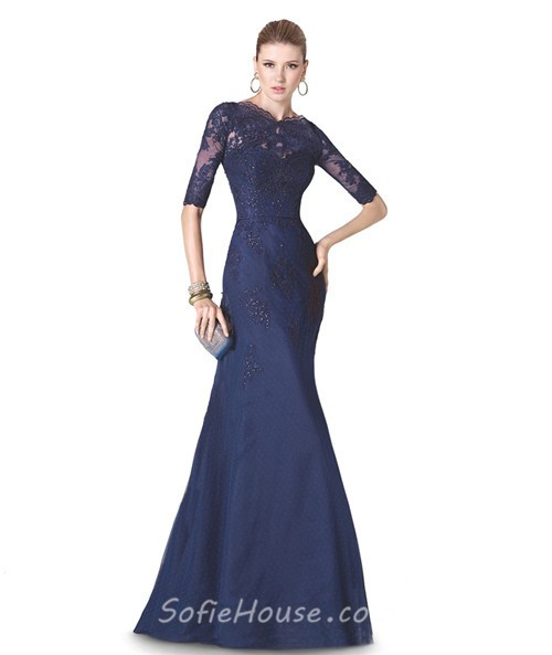 Mermaid High Neck Navy Blue Tulle Lace Long Formal Occasion Evening