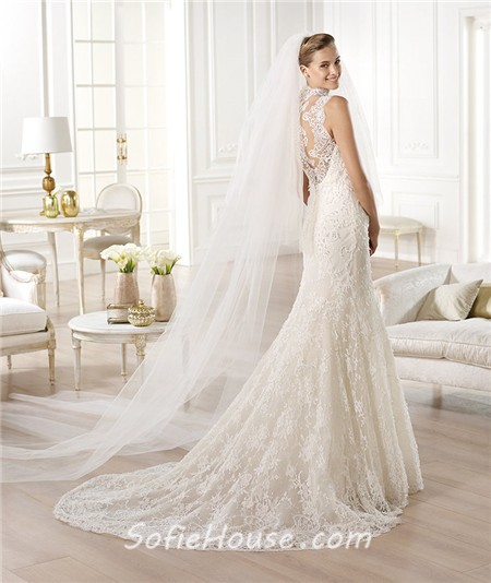 Mermaid high neck see through sheer back lace wedding for See through lace wedding dress