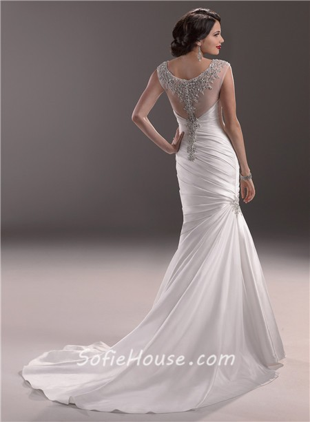 Mermaid illusion bateau neck tulle satin wedding dress for Add sparkle to wedding dress