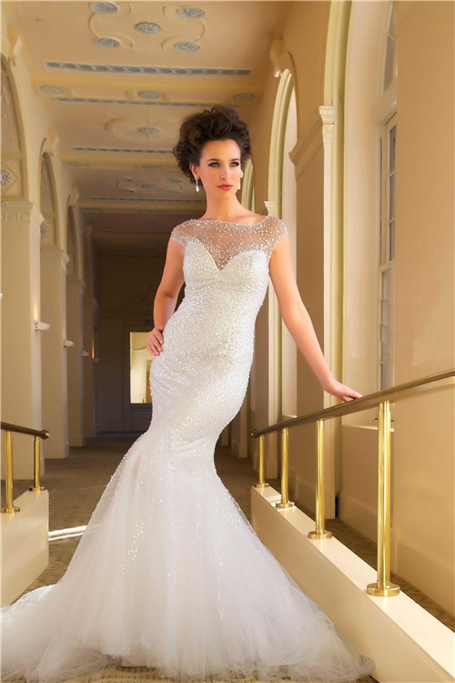 Mermaid illusion cap sleeve tulle beaded wedding dress for Tulle wedding dress with sleeves