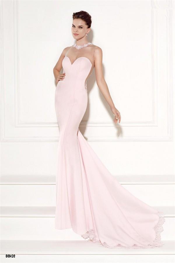 Mermaid Illusion Neckline Light Pink Satin Lace Evening Prom Dress ...