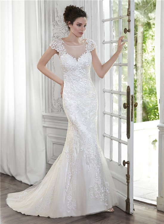 Mermaid illusion neckline open back cap sleeve lace for Cap sleeve open back wedding dress