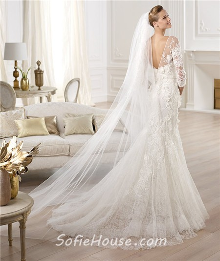 Mermaid Illusion Neckline Open Back Three Quarter Sleeve Lace Wedding Dress
