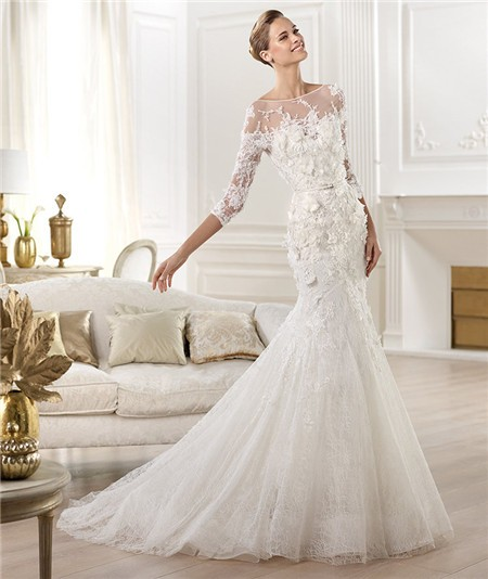 Illusion Neckline Open Back Three Quarter Sleeve Lace Wedding Dress