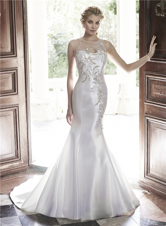 Mermaid illusion neckline sheer back tulle satin beaded for Wedding dresses with sheer illusion neckline