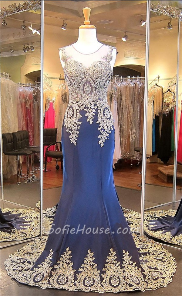 c495891b895 ... Mermaid Illusion Scoop Neck Navy Chiffon Gold Lace Applique Prom Dress  ...