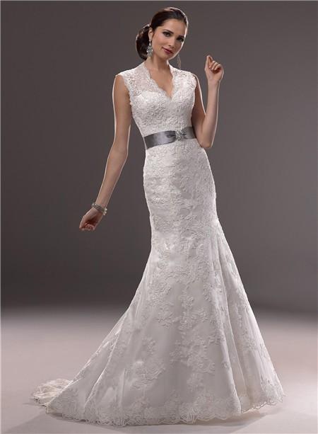 Mermaid illusion v neckline sheer back lace wedding dress for Wedding dresses with sheer illusion neckline