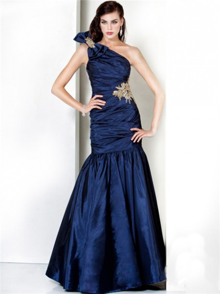 Mermaid One Shoulder Long Navy Blue Ruched Taffeta Evening ...