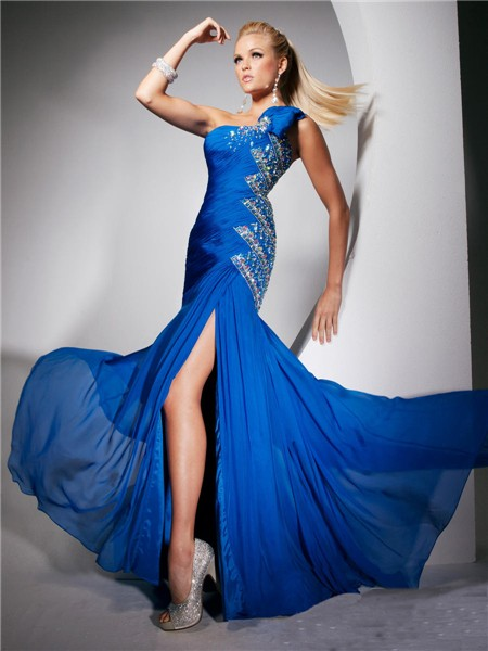Mermaid One Shoulder Long Royal Blue Chiffon Party Prom Dress With ...