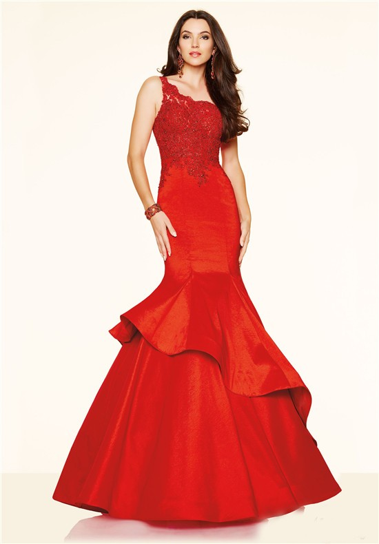 One Shoulder Red Lace Taffeta Ruffle Evening Prom Dress