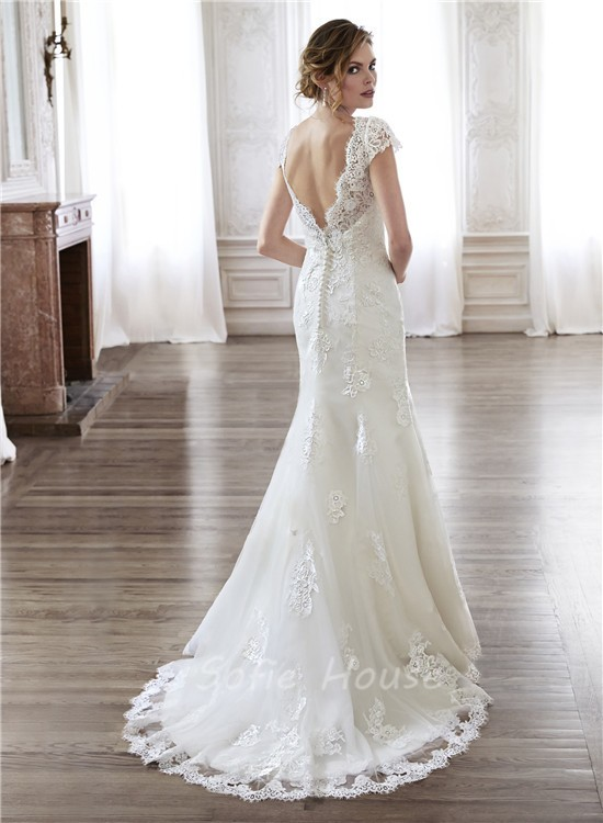 Mermaid scalloped neckline open back vintage lace wedding for Lace wedding dresses open back