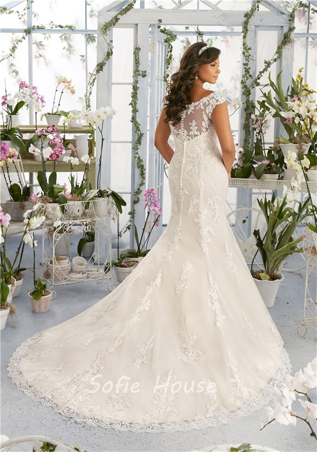 Mermaid Scoop Neck Cap Sleeve Plus Size Lace Wedding Dress ...