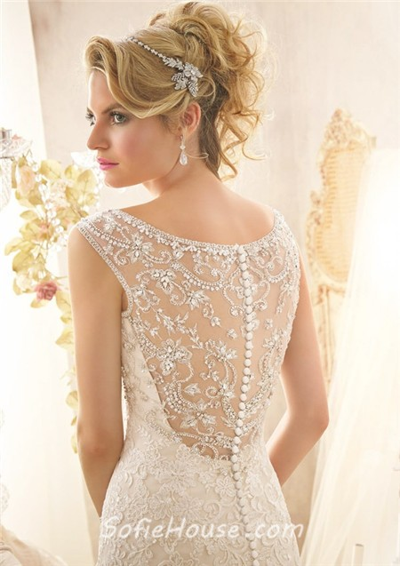 Neckline sheer see through back lace beaded wedding dress with straps