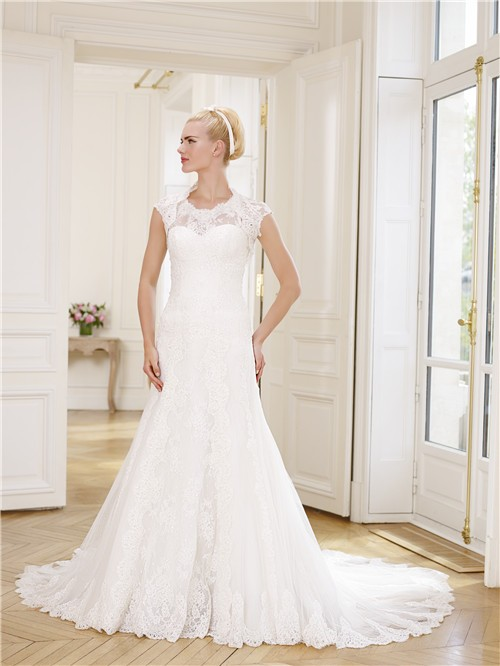 Mermaid scoop neckline tulle lace wedding dress detachable for Wedding dress detachable sleeves