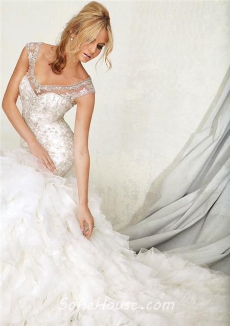Mermaid sheer illusion neckline layered tulle beaded for Tulle layered wedding dress