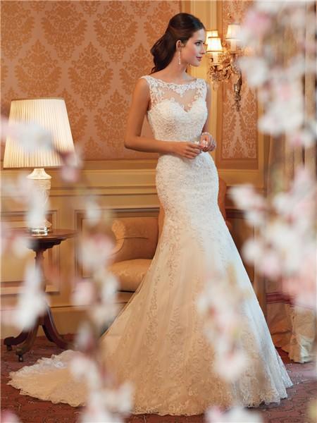 Mermaid sheer tulle bateau neckline deep v back lace for Lace button back wedding dress