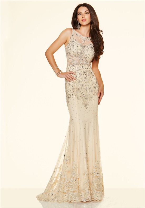 Mermaid Sleeveless Open Back See Through Champagne Lace Beaded Prom ...