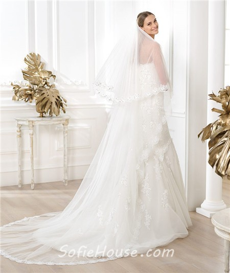 Mermaid strapless beaded lace wedding dress with three for Three quarter wedding dresses