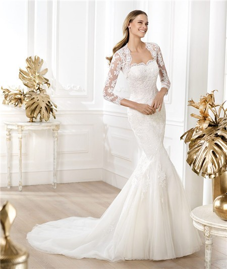 Strapless Beaded Lace Wedding Dress With Three Quarter Sleeves Jacket