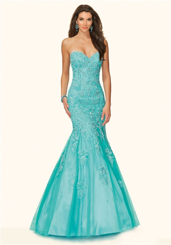 Mermaid Strapless Corset Back Aqua Tulle Lace Beaded Prom Dress