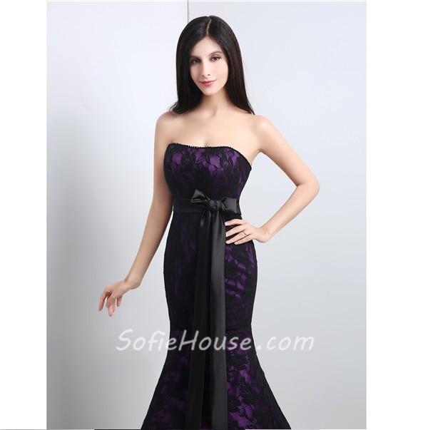 Purple and black mermaid dress