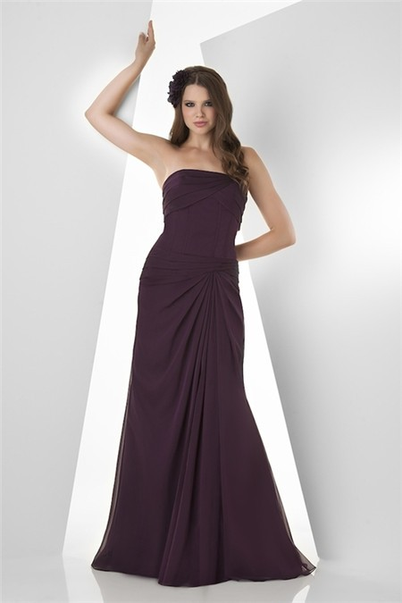 Mermaid strapless long grape purple chiffon draped wedding for Purple dresses for wedding guests