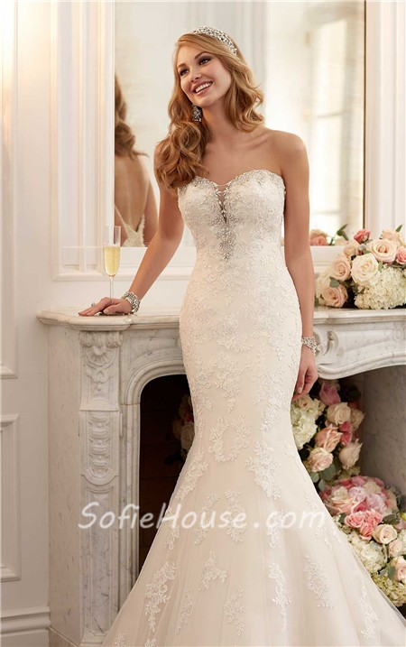 Mermaid strapless plunging sweetheart neckline lace for Plunge neck wedding dress