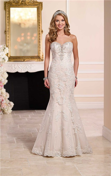 Mermaid Strapless Plunging Sweetheart Neckline Lace Crystal Wedding ...