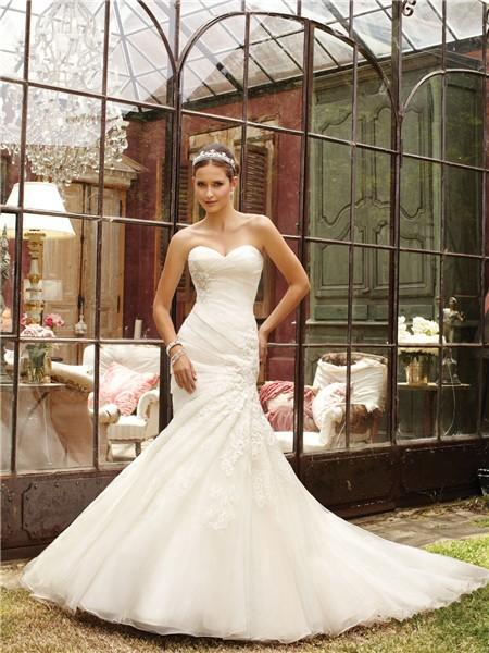 Mermaid Wedding Dress With Chapel Train : Sweetheart ruched organza lace wedding dress with chapel train