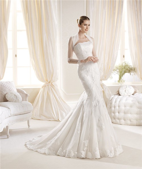Mermaid strapless tight fitting lace wedding dress with for Tight fitting wedding dresses