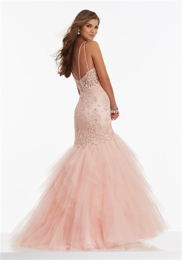 Mermaid Sweetheart Blush Pink Lace Tulle Layered Prom Dress With ...