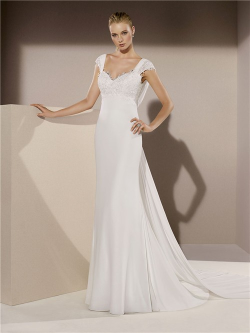 Mermaid Sweetheart Cap Sleeve Cowl Open Back Chiffon Lace Wedding ...