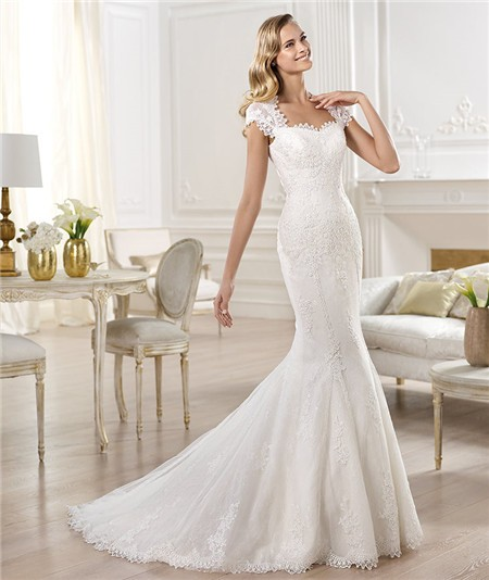 Mermaid sweetheart cap sleeve sheer back lace wedding for Lace button back wedding dress