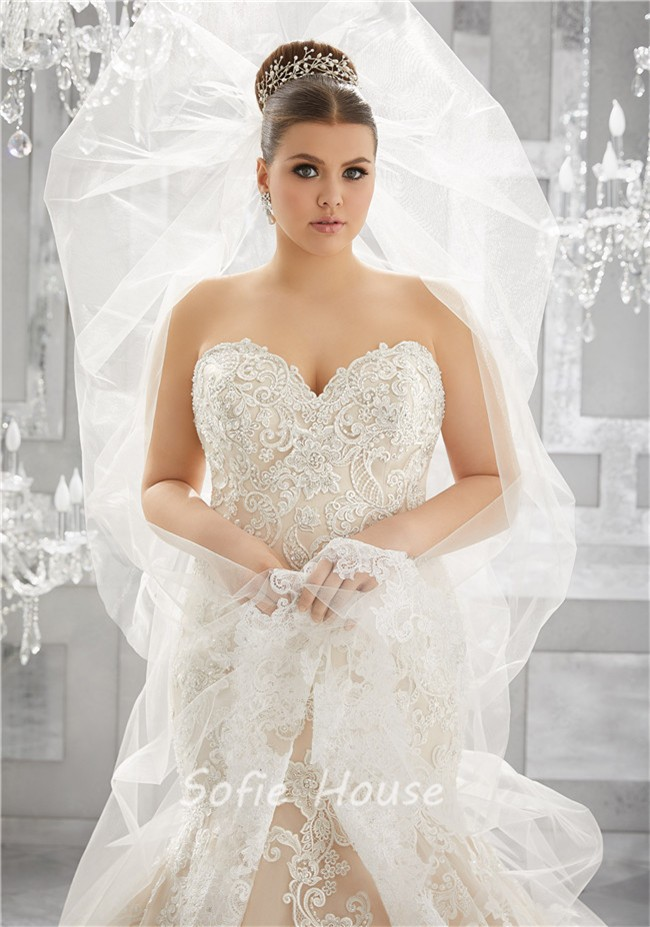 Mermaid Sweetheart Champagne Tulle Lace Plus Size Wedding Dress With ...