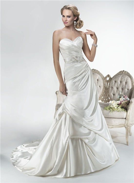 Mermaid Sweetheart Corset Back Draped Satin Wedding Dress