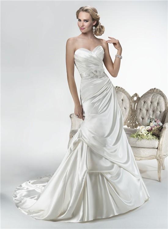 Mermaid sweetheart corset back draped satin wedding dress for Lace sleeve corset wedding dress