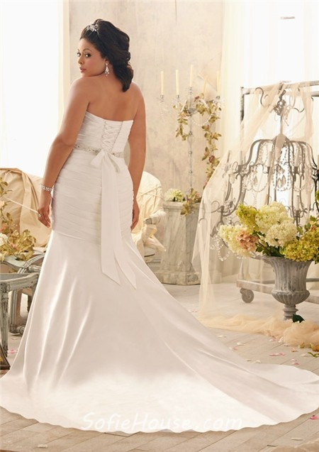 Mermaid sweetheart corset back ruched satin plus size for Plus size silk wedding dresses