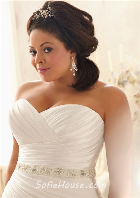 Mermaid sweetheart corset back ruched satin plus size for Plus size girdle for wedding dress