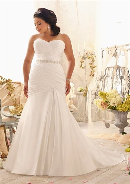 Mermaid sweetheart corset back ruched satin plus size for Free plus size wedding dress catalogs