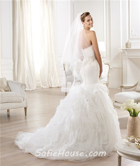 Mermaid Sweetheart Criss Cross Draped Feather Layered Organza ...